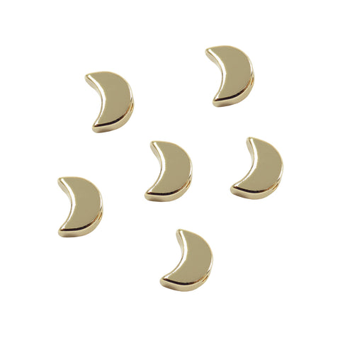 Tiny Moon Slider Charm (6 pieces) Gold Plated Mini Half Moon Spacer Beads for Necklaces and Bracelets Connector for Jewelry Making