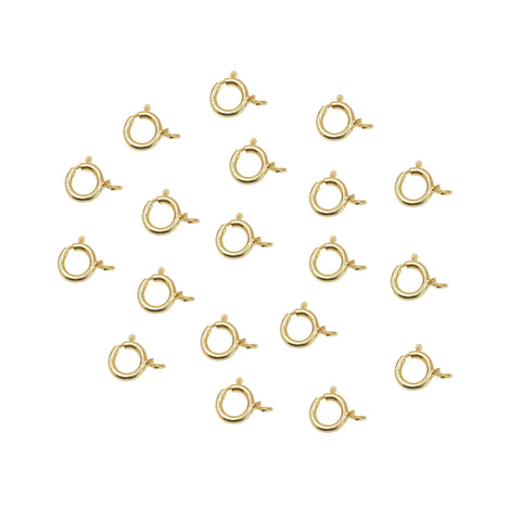Spring Ring Clasp 5.5mm (5 PCS) 22K Gold Plated Over 925 Sterling Silver