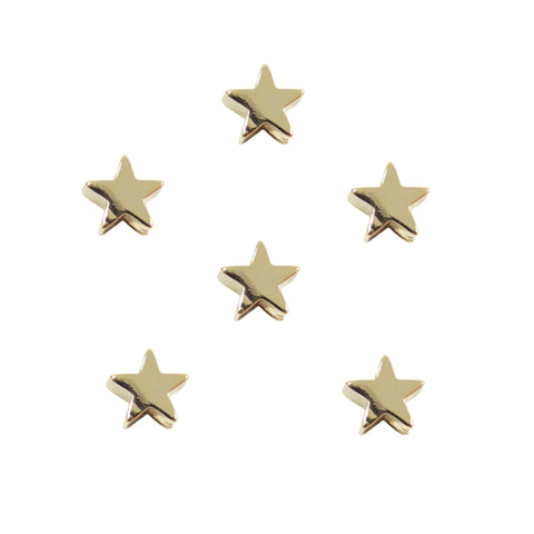 Star Slider Charm (6 pieces) Gold Plated Mini Star Spacer Beads for Bracelets, 7.8x8mm Sliding Little Star Separator, Celestial Beads Wholesale