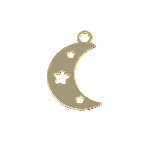 Moon Star Charm (06 Pieces) Gold Filled Moon pendant with Star, Celestial Pendant 18k Gold Plated over Brass, Wholesale Jewelry Findings