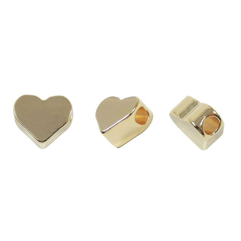 Heart Shaped Charm, Little Spacer Gold Plated Size 7.8x7.8mm, (06 Pieces) Heart Slide Charm