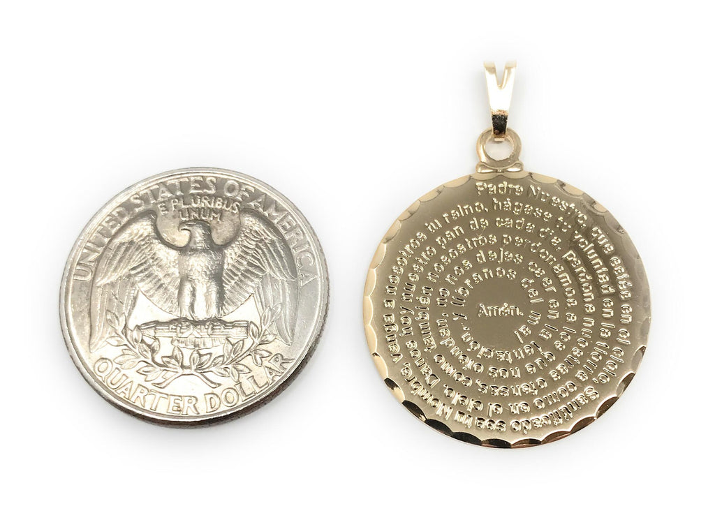 Our Father Prayer Medal Necklace Lord/'s Prayer Gold Layered Medal Tiny Padre Nuestro Spanish Prayer Gold plated Pendant Religious Jewelry