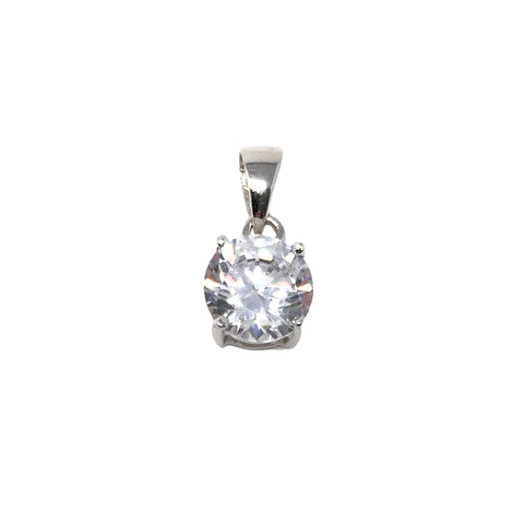 Simulated Diamond Pendant 8mm, Solitaire Crystal, 925 Sterling Silver Clear Crystal Single Bead Charm