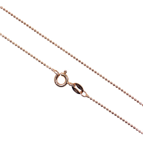 "Rose Gold Plated Bead Chain Necklace, Italian Sterling Silver Rose Gold Plated Diamond Cut 1mm Bead, Chain Thin Bead length 16""/18"""