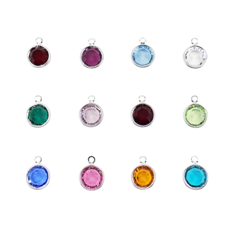Swarovski Birthstone Crystal Silver Plated Charm, Birthday Charm Choose Month or Color. Size 8mm