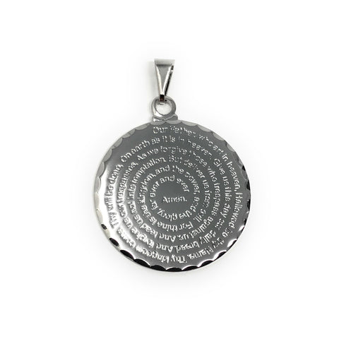 Our Father Prayer Medal Rhodium Plated 1'' Engraved