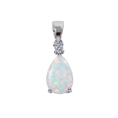 Opal Teardrop Sterling Silver Pendant, White Lab Created Opal and Cubic Zirconia Charm. Opal Drop Pendant