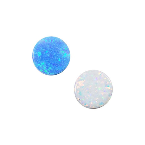 Opal Flat Disc Cabochon 8mm Full Drilled Holes, Opal Round Flat Back Cabs, Lab Created Opal Smooth Coin Beads