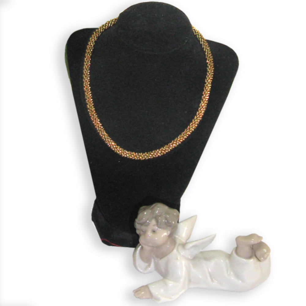 "S 005 - Kumihimo 16"" Gold Necklace"