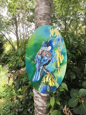 Tui with Kowhai flowers Oval Art Panel - Satherley Silks NZ