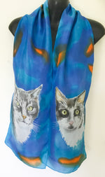 Two Cat Portrait Silk Scarf - Satherley Silks NZ