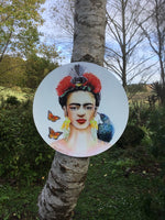 Frida Kahlo Portrait painting with Tui and Fantail  - Outdoor Garden Art Panel