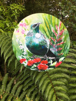 Tui with Pohutukawa, Manuka, Flax and Puriri flowers - Satherley Silks NZ