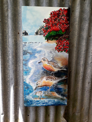 Dotterals, NZ Seashore Birds - Outdoor Garden Art Panel - Satherley Silks NZ