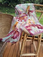 Iris in Gold & Burgundy - Hand painted Silk Scarf - Satherley Silks NZ