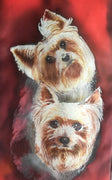 Yorkshire Terriers Special  Triple Pet Portrait - Hand painted Silk Scarf
