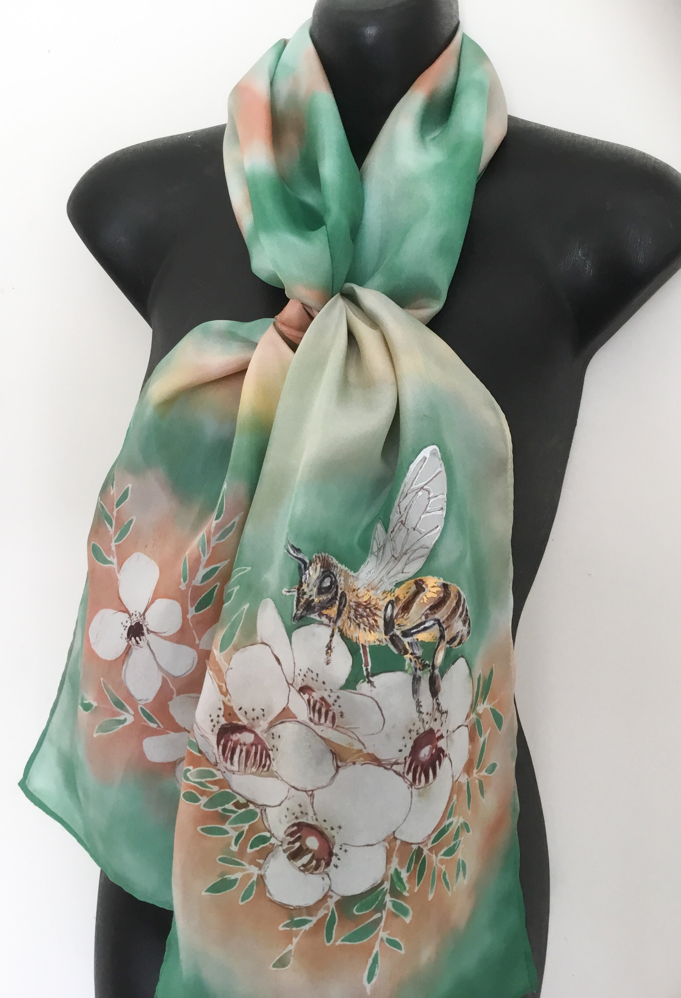 Bee on Manuka Flowers - Hand Painted Silk Scarf - Satherley Silks NZ