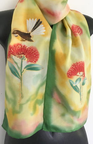 Fantail on Pohutukawa - Hand painted Silk Scarf