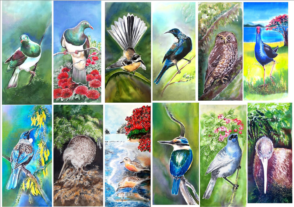 Special: Three birds of Your Choice -  Outdoor Garden Art Panel - Satherley Silks NZ