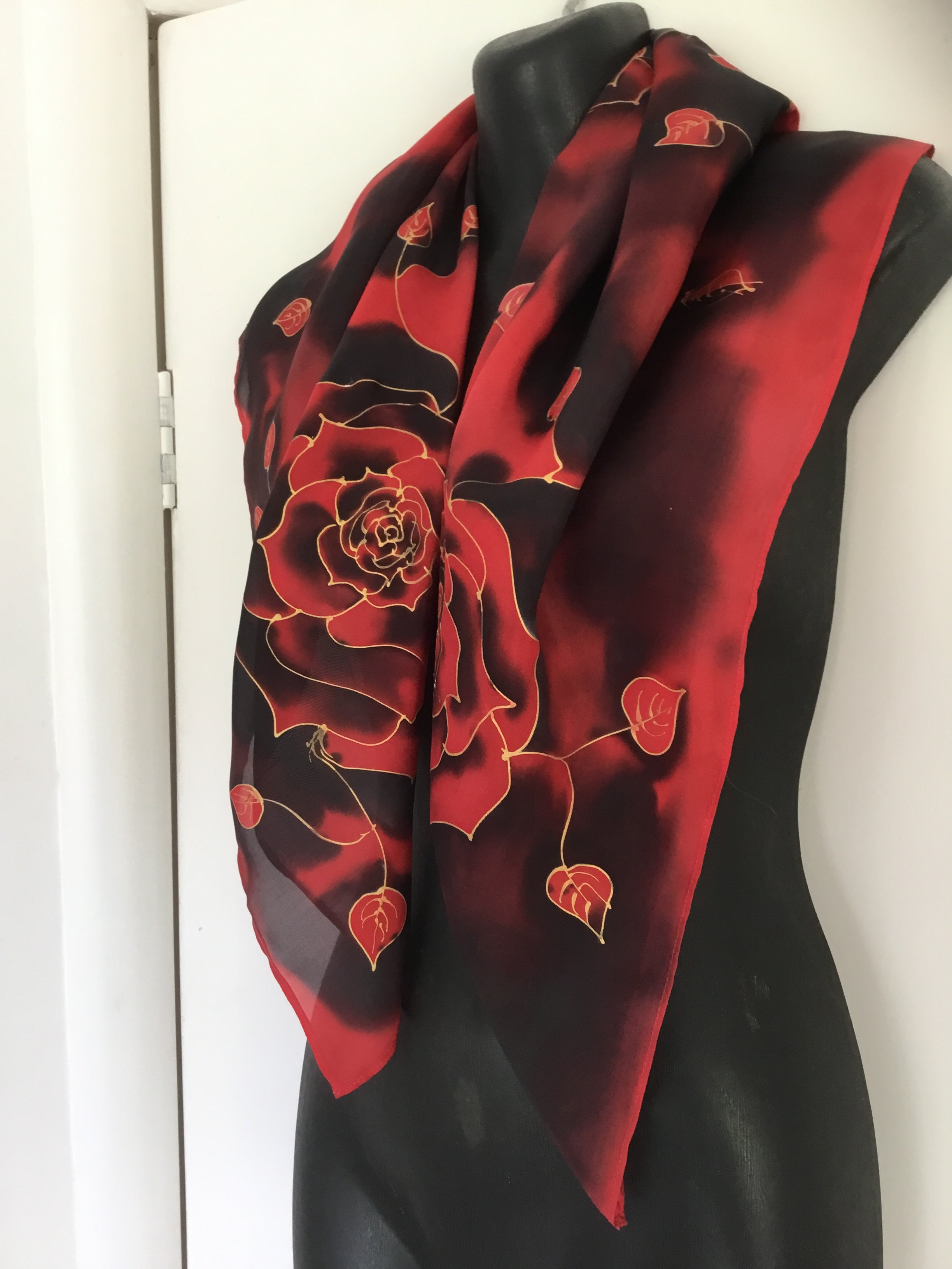 Midnight  Rose  Square - Hand painted Silk Scarf
