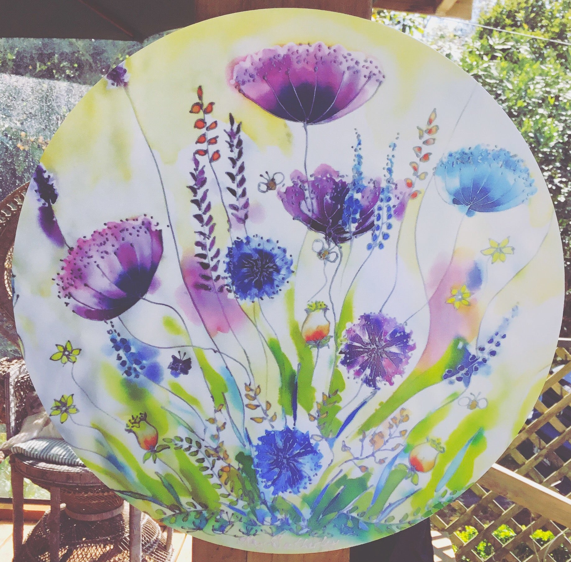 Wildflowers Circle Outdoor Art Panel - Satherley Silks NZ