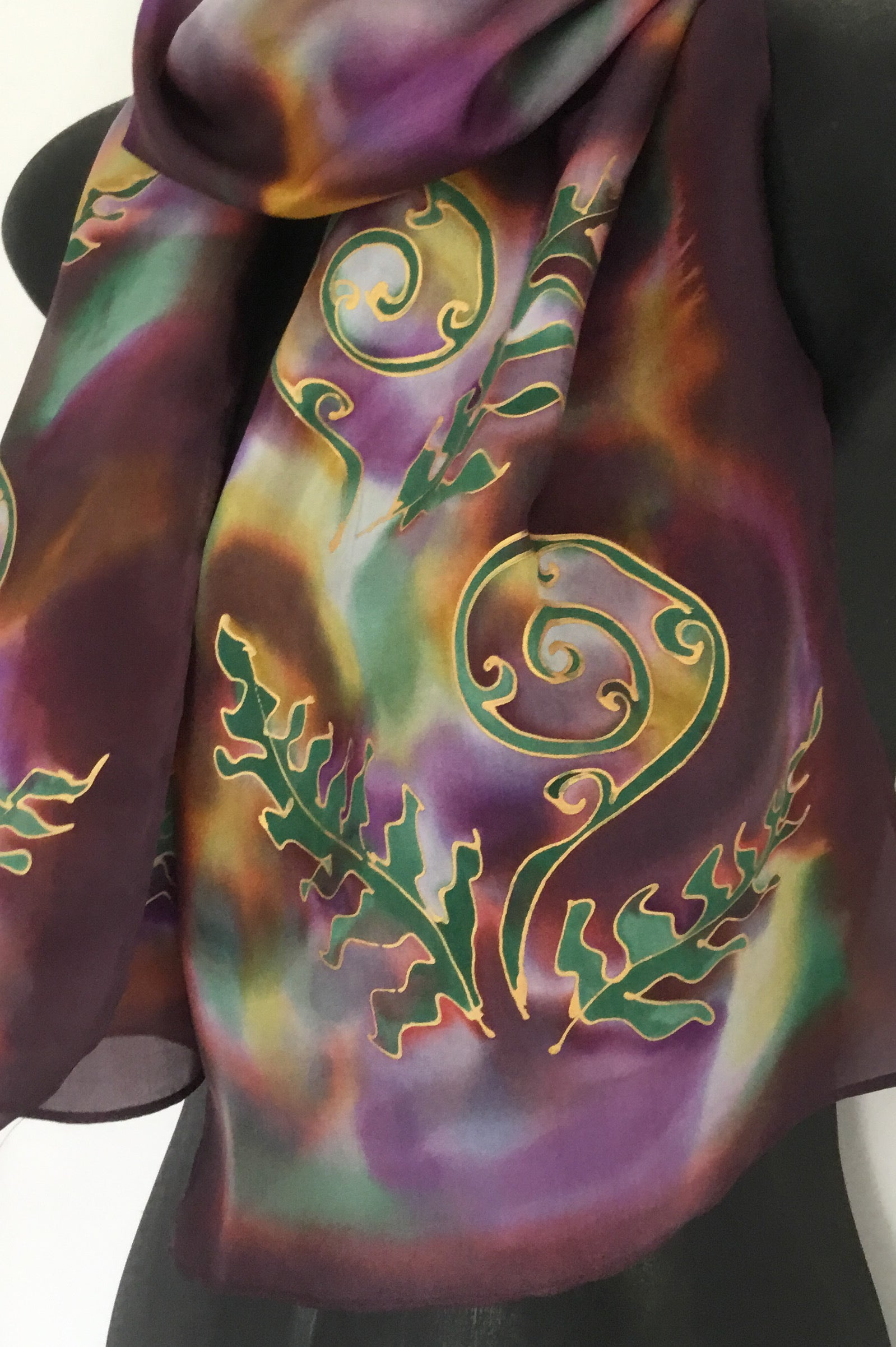Ferns and Korus Multi - Hand painted Silk Scarf