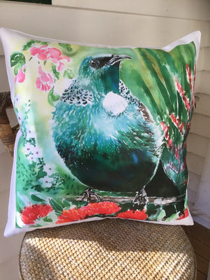 Tui and NZ Flora - Printed Cushion Cover.