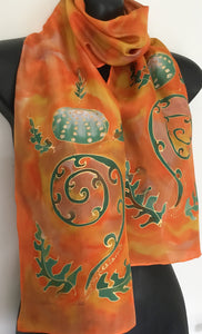 Kina on Koru - Hand Painted Silk Scarf - Satherley Silks NZ