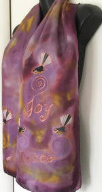 Fantails Peace & Joy  - Hand painted Silk Scarf - Satherley Silks NZ