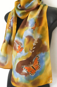 Monarch Butterflies on Yellow - Hand painted Silk Scarf - Satherley Silks NZ