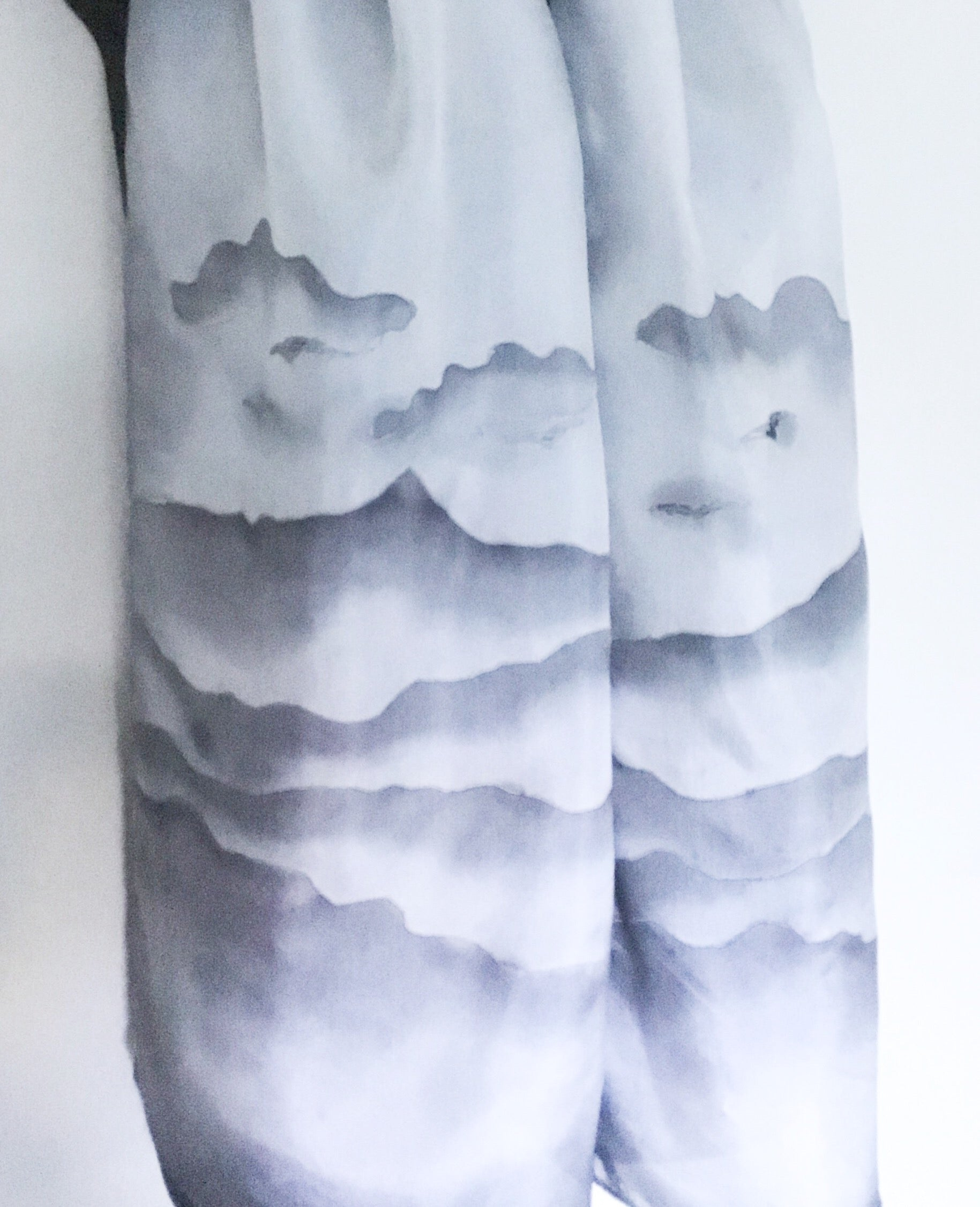 Silver Hills and Clouds- Hand Painted Silk Scarf - Satherley Silks NZ
