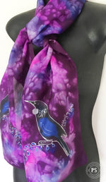 Tui On Purple and Cerise - Hand painted Silk Scarf - Satherley Silks NZ