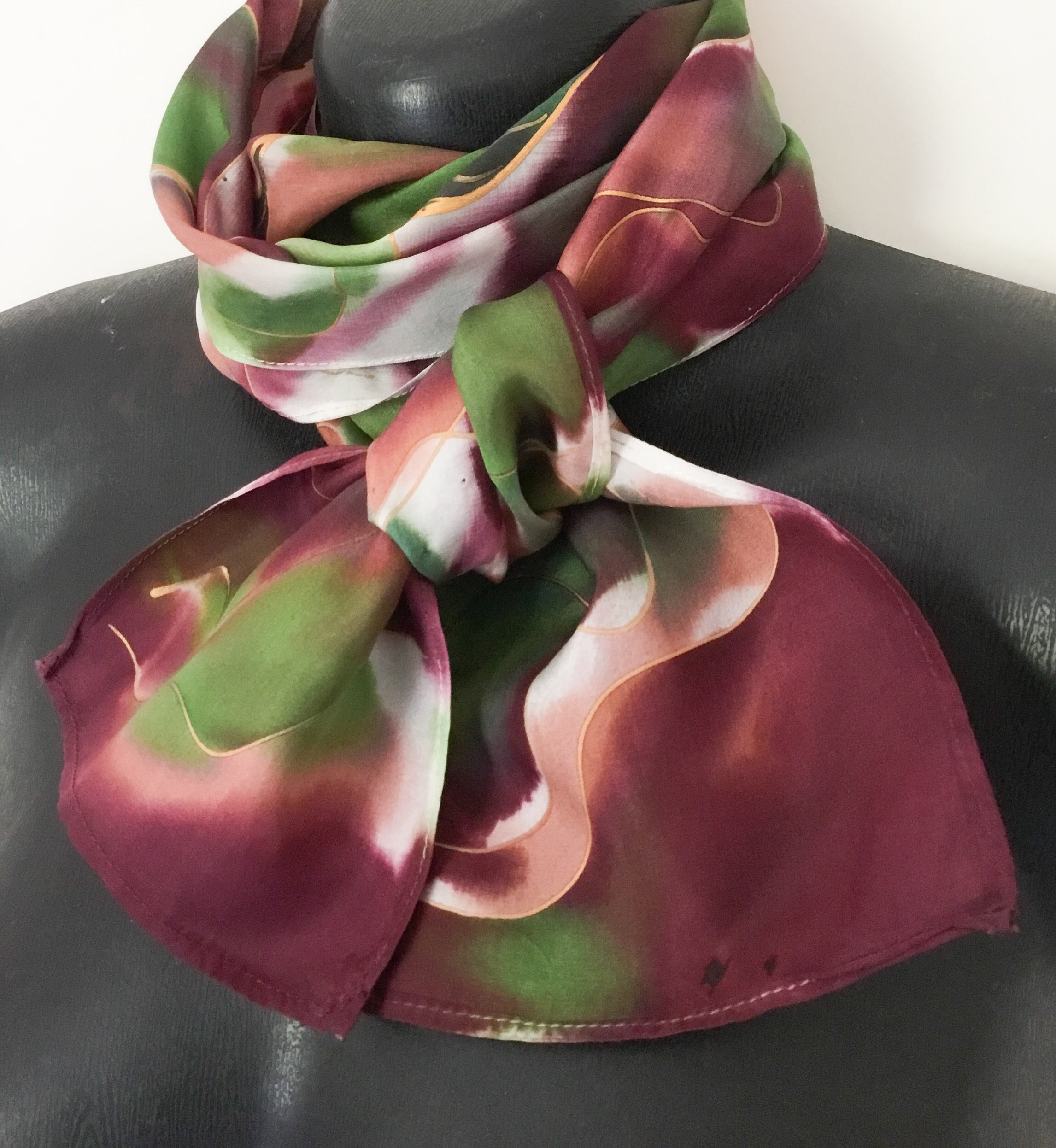Leaves Botanical Skinny - Hand painted Silk Scarf - Satherley Silks NZ