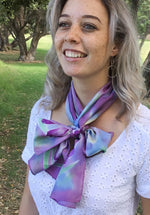 Iris Flowers in pale purple - Hand painted Silk Scarf - Satherley Silks NZ