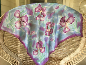 Iris in Monet watercolour pastels - Hand painted Square silk scarf