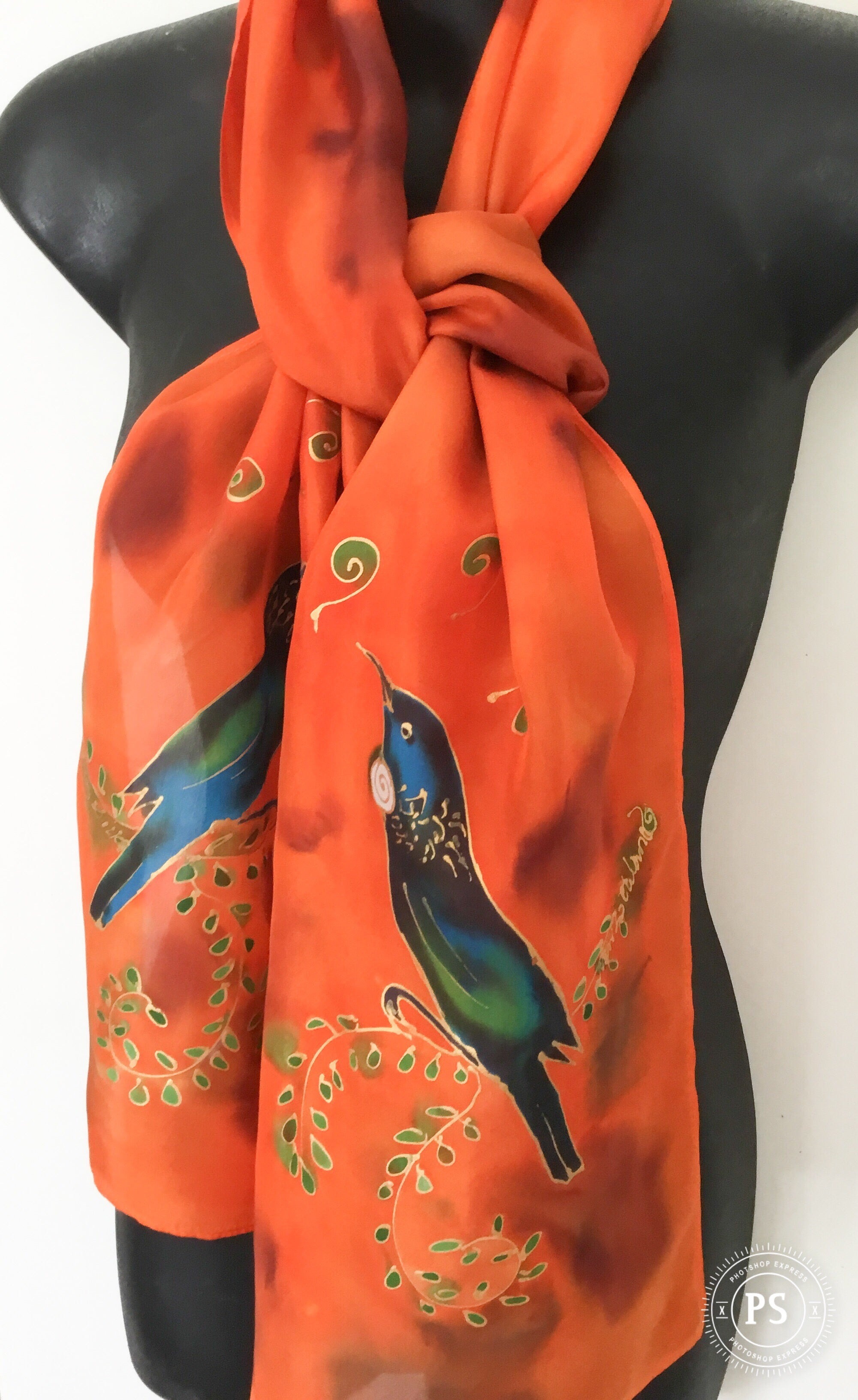 Tui & Kowhai with little Korus - Hand painted Silk Scarf - Satherley Silks NZ
