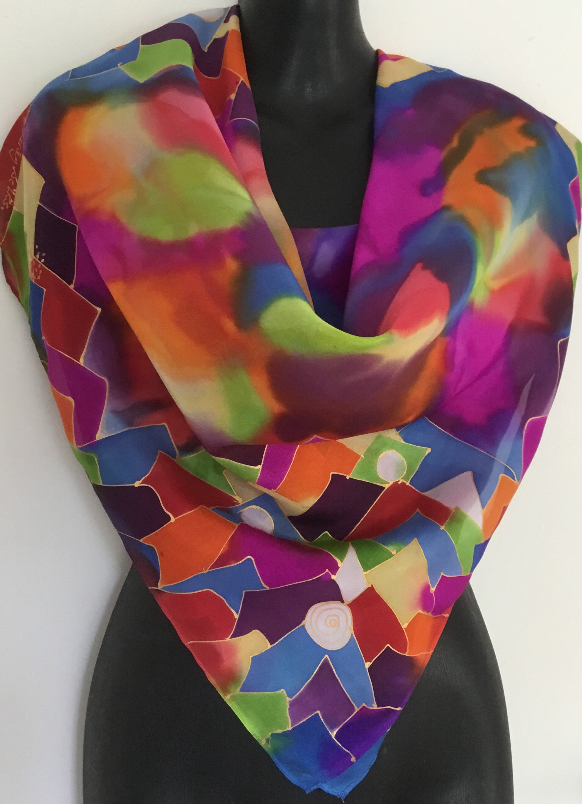Rainbow Jazz coloured Square - Hand painted Silk Scarf
