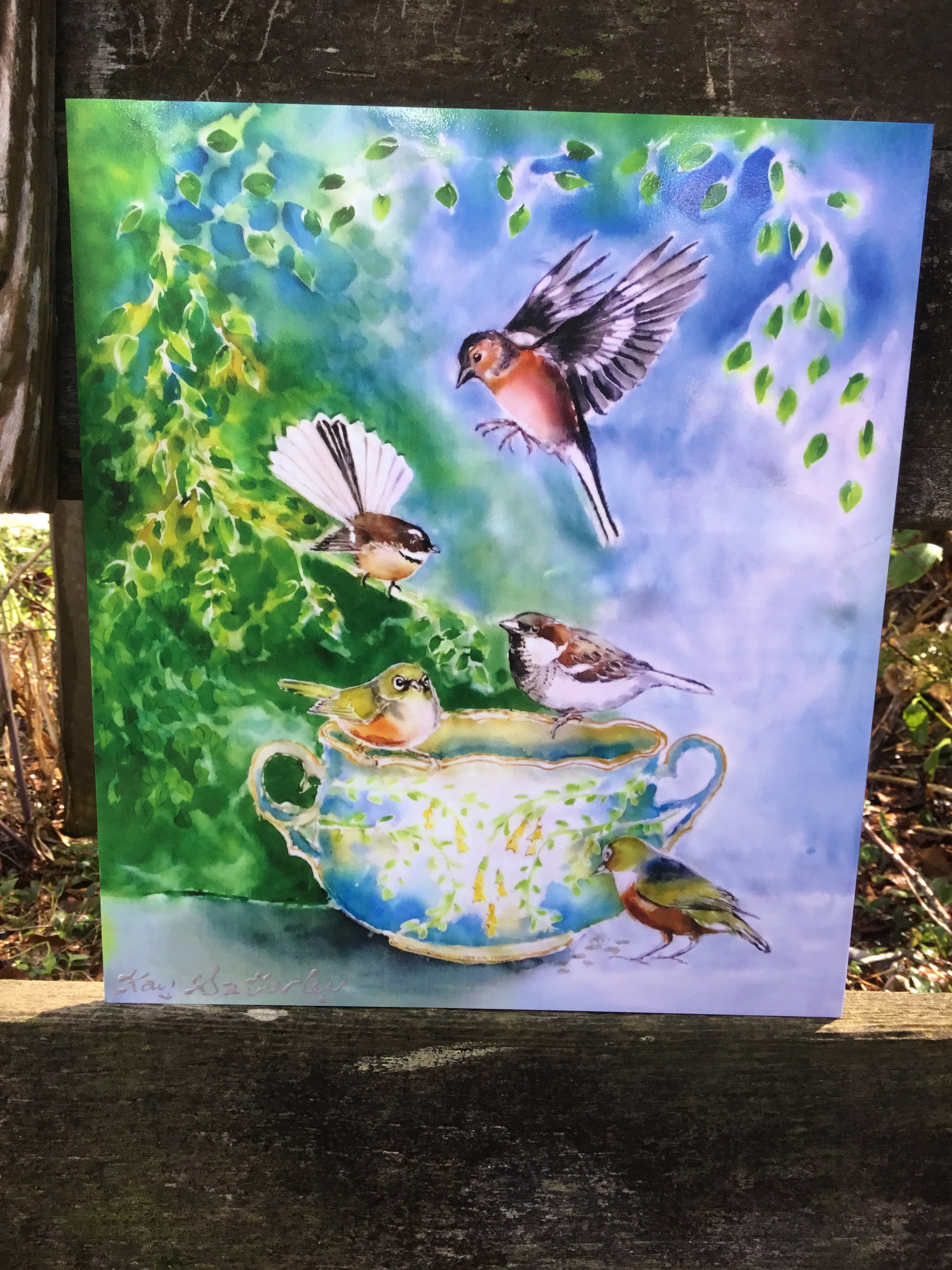 Small birds, SilverEyes, Chaffinch, Fantail and Sparrow on Vintage China - Outdoor Art 25 x 22cm