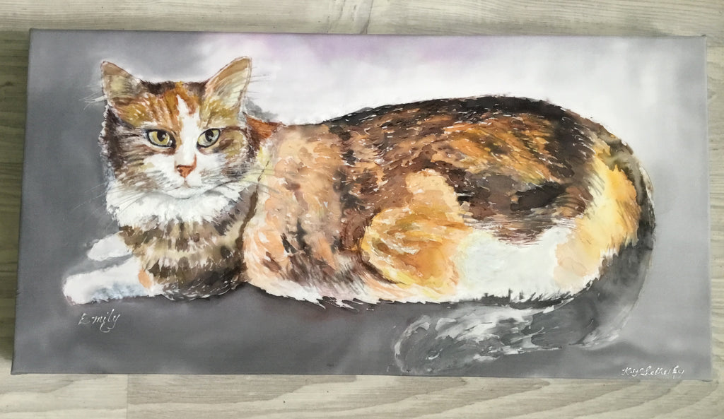 Commissioned Silk Painting of a Long Haired Tortoiseshell cat. Bespoke Silk Art