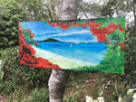 Pohutukawa  Beach- Outdoor Garden Art Panel