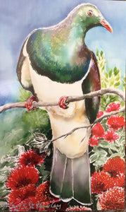 Kereru on Pohutukawa Mini Outdoor Art Panel - Satherley Silks NZ