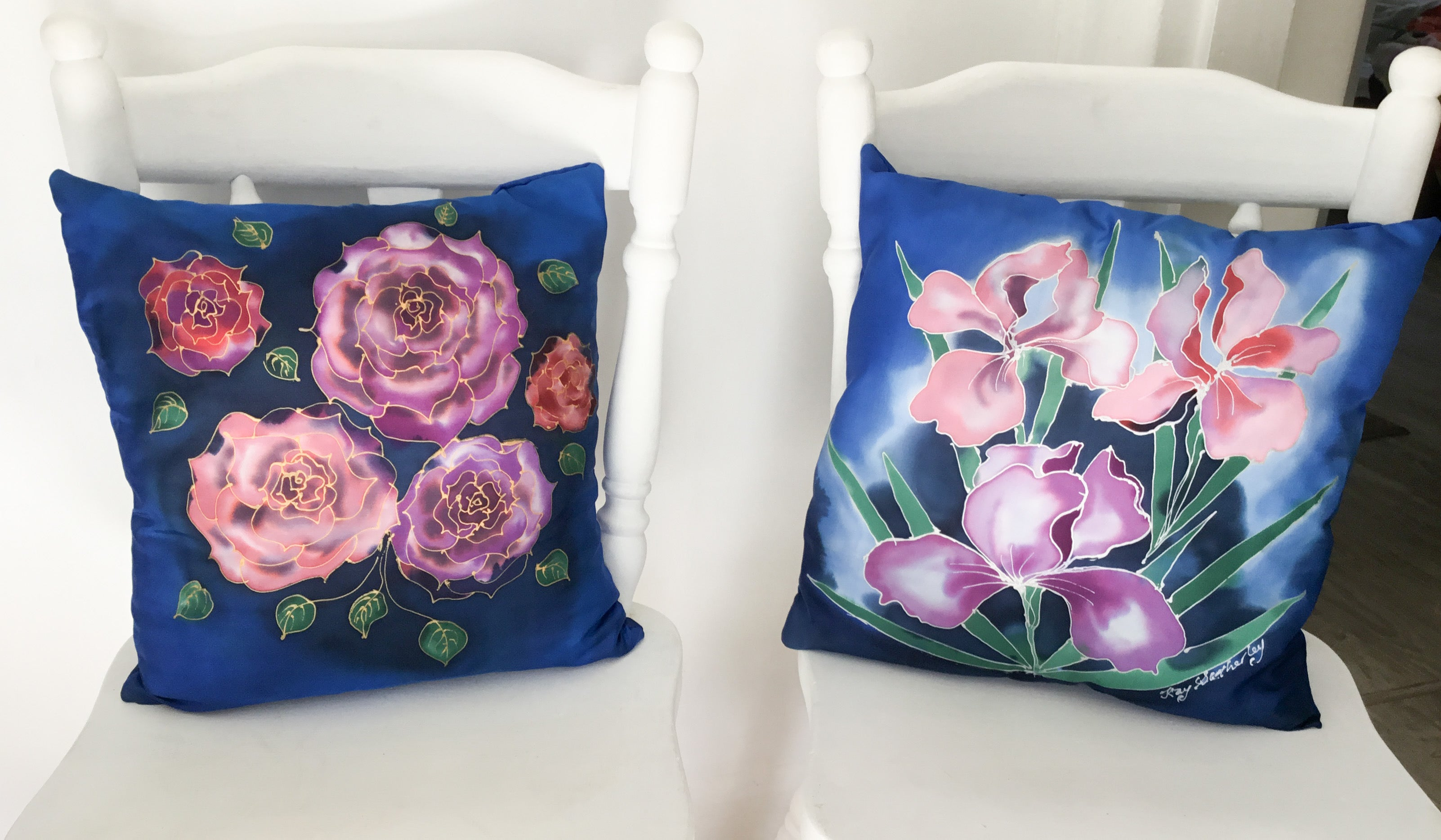 Special Price for Iris & Roses- 2 x  Hand painted Silk  Cushion Covers.