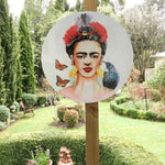 Frida Portrait painting with Tui and Fantail  - Outdoor Garden Art Panel