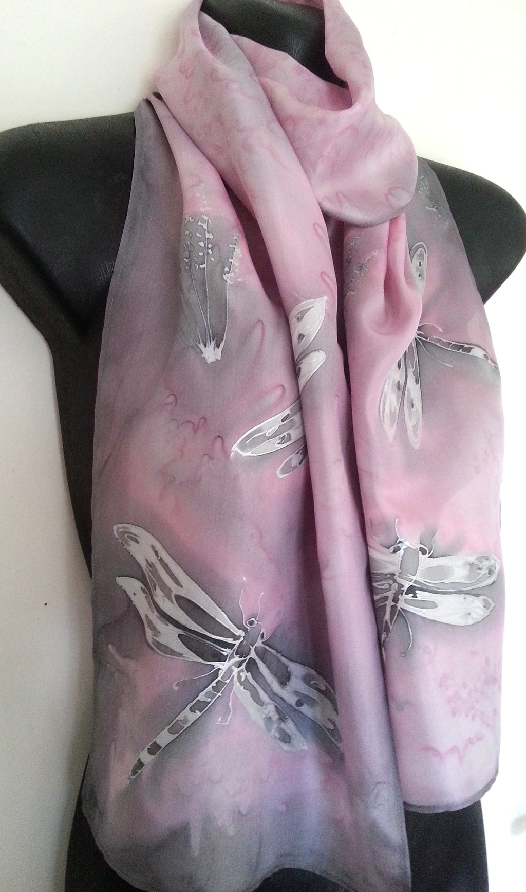 Dragonflies Blush Rose - Hand painted Silk Scarf - Satherley Silks NZ