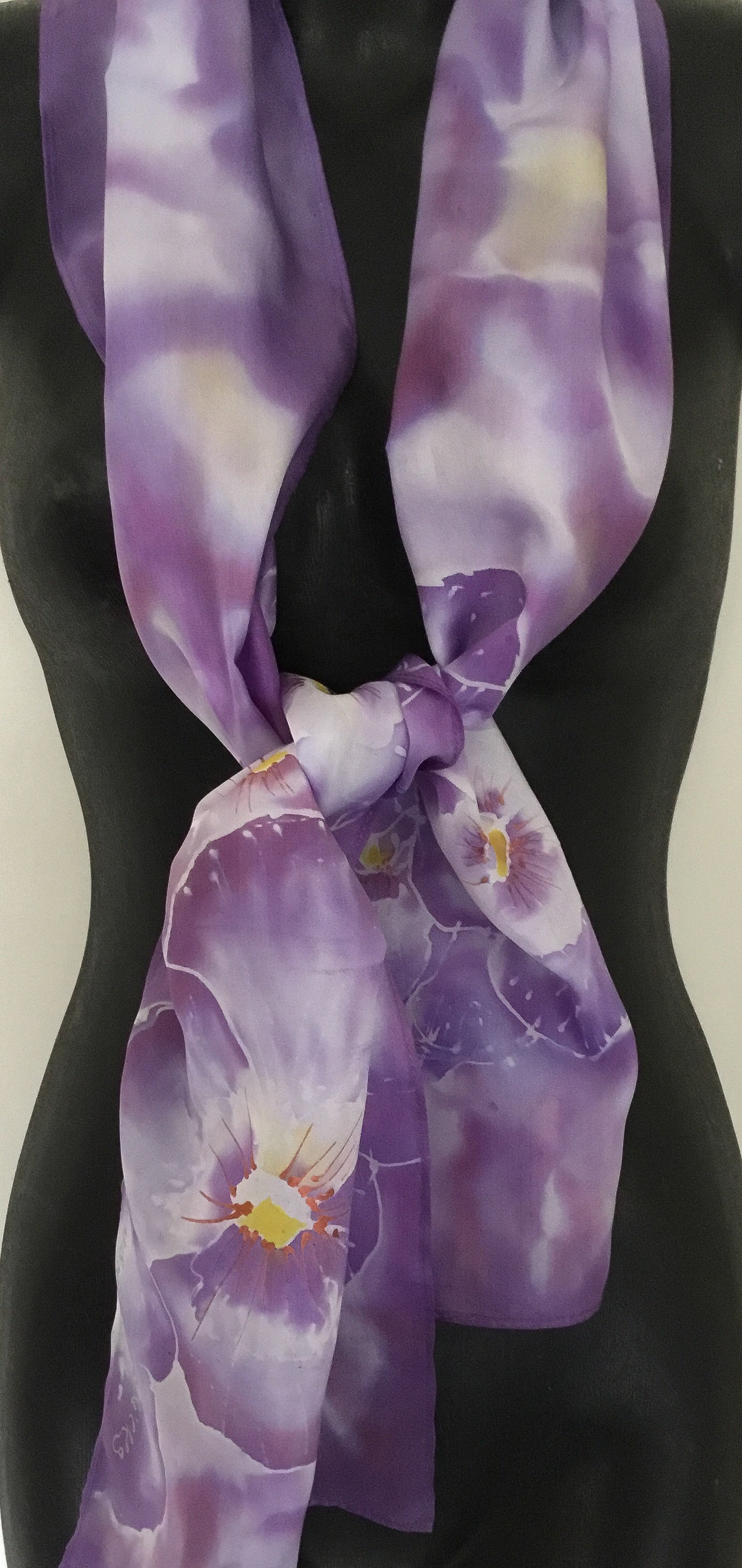 Violet Pansies - Hand Painted Silk Scarf - Satherley Silks NZ