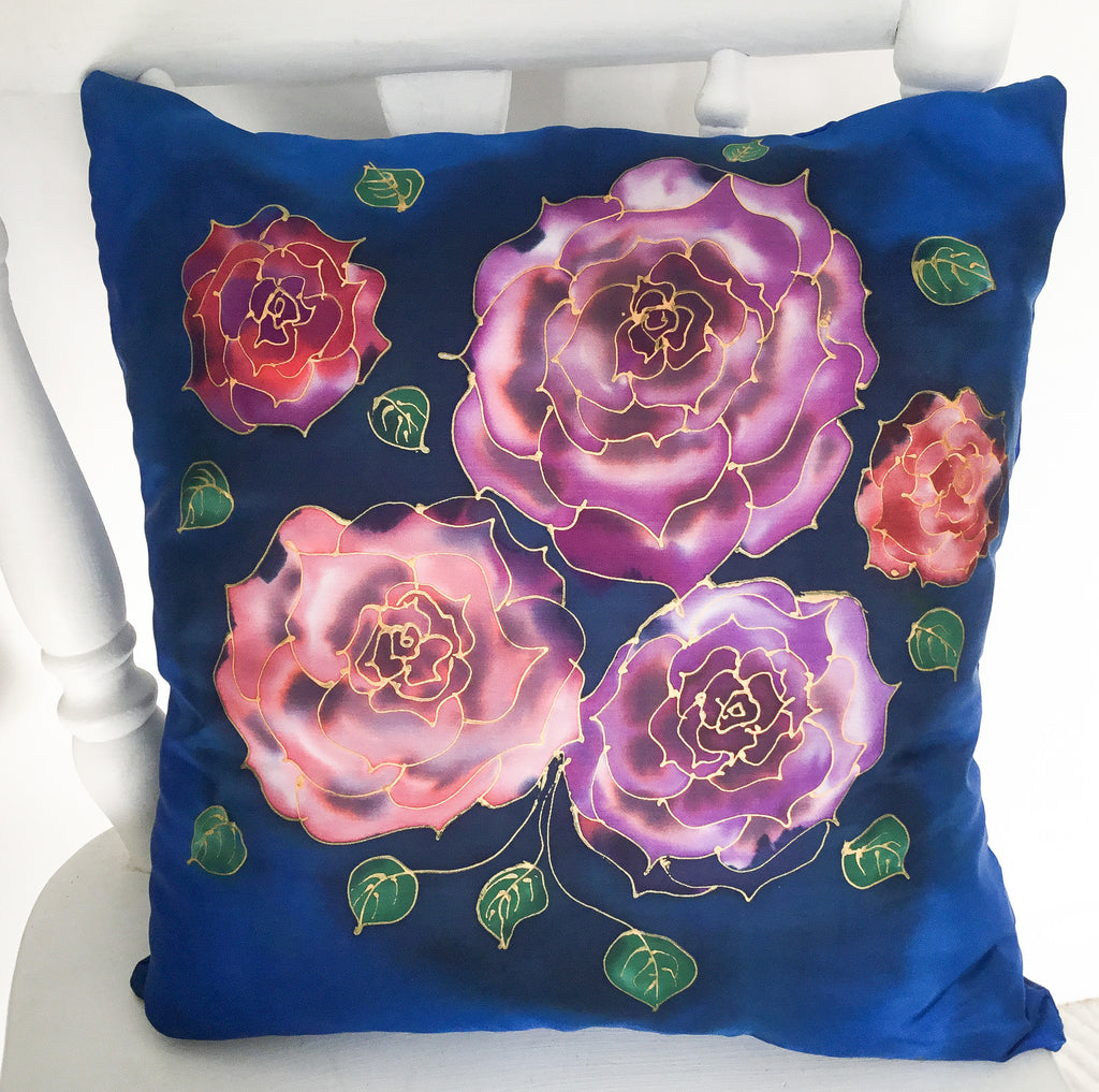 Roses- Hand painted Silk  Cushion Cover.