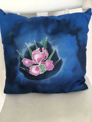 Iris Flowers- Hand painted Silk  Cushion Cover.
