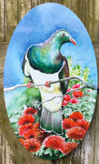 Kereru on Pohutukawa OVAL Outdoor Art Panel - Satherley Silks NZ