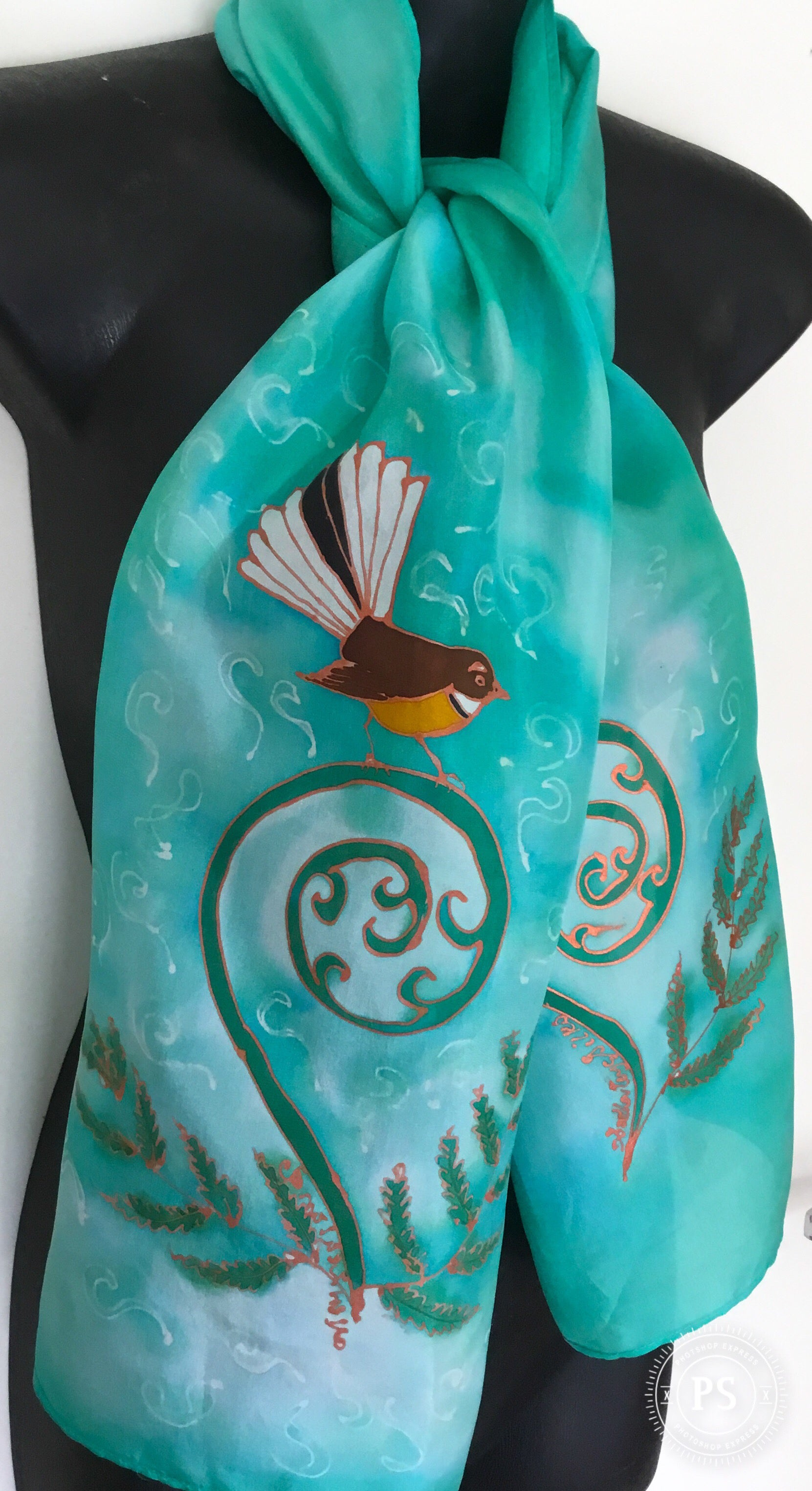 Fantail on Koru  - Hand painted Silk Scarf - Satherley Silks NZ