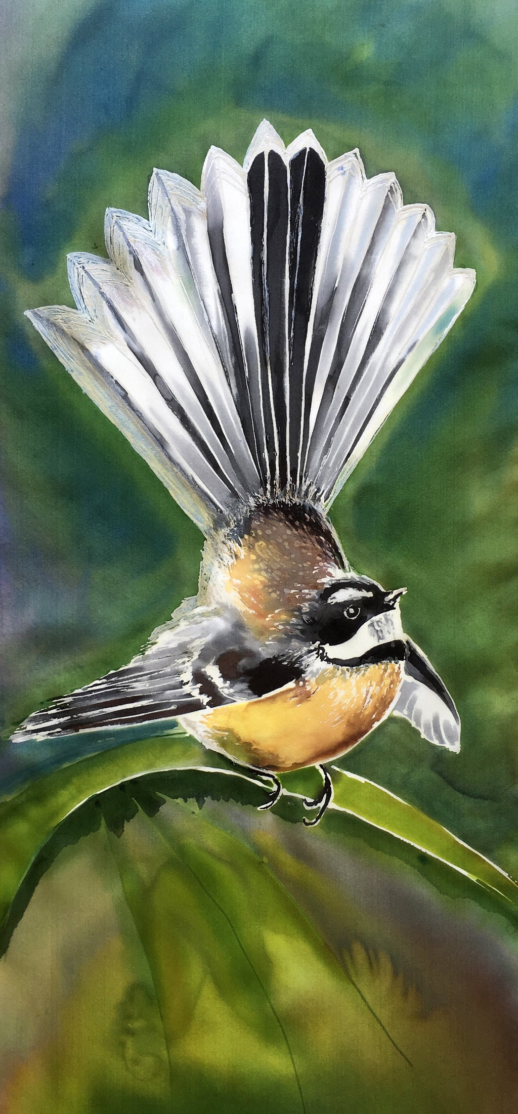New Zealand Fantail Bird - Outdoor Garden Art Panel - Satherley Silks NZ